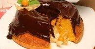 Tarta de zanahoria sin azúcar con cobertura de chocolate